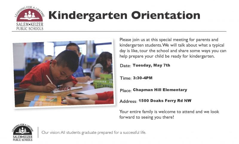 Kindergarten Orientation Invitation